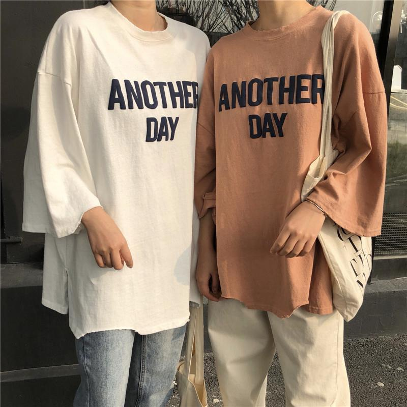 itGirl Shop ANOTHER DAY OVERSIZED LETTERS LONG COTTON T-SHIRT