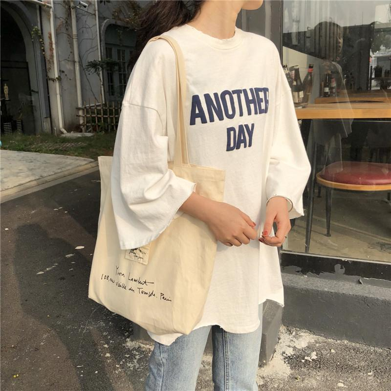 itGirl Shop ANOTHER DAY OVERSIZED LETTERS LONG COTTON T-SHIRT Aesthetic Apparel, Tumblr Clothes, Soft Grunge, Pastel goth, Harajuku fashion. Korean and Japan Style looks