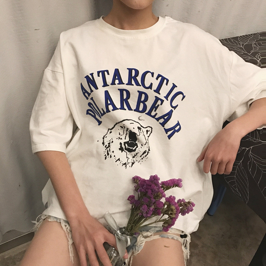 itGirl Shop ANTARCTIC POLAR BEAR PRINT LETTERS OVERSIZED COTTON T-SHIRT Aesthetic Apparel, Tumblr Clothes, Soft Grunge, Pastel goth, Harajuku fashion. Korean and Japan Style looks