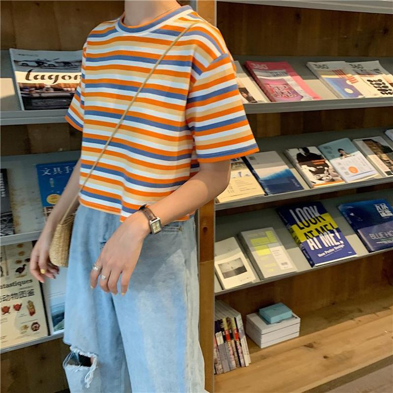 itGirl Shop APRICOT STRIPES SUMMER AESTHETIC LOOSE T-SHIRT