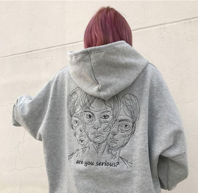 itGirl Shop ARE YOU SERIOUS LETTERS PRINTED GRAY BLACK OVERSIZED HOODIE