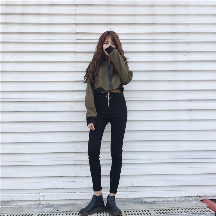 itGirl Shop ARMY GREEN BEIGE SATIN CROP RACER PATCHWORK ZIPPER JACKET Aesthetic Apparel, Tumblr Clothes, Soft Grunge, Pastel goth, Harajuku fashion. Korean and Japan Style looks
