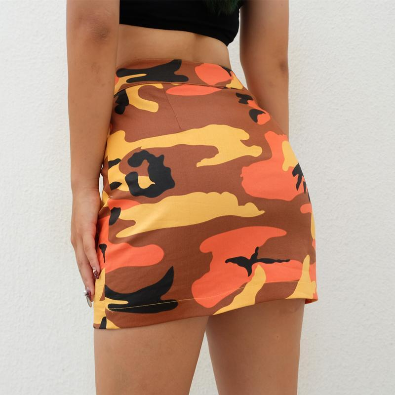 itGirl Shop ARMY PATTERN BW KHAKI PENCIL TUBE FRONT ZIPPER SKIRT