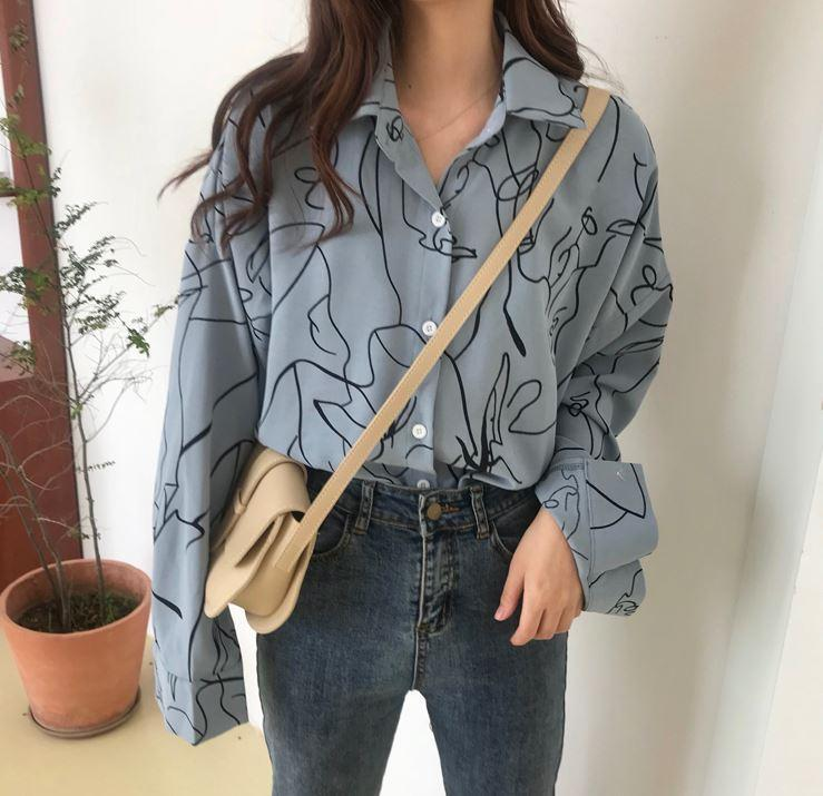 itGirl Shop ART ABSTRACT LINES LOOSE BLOUSE