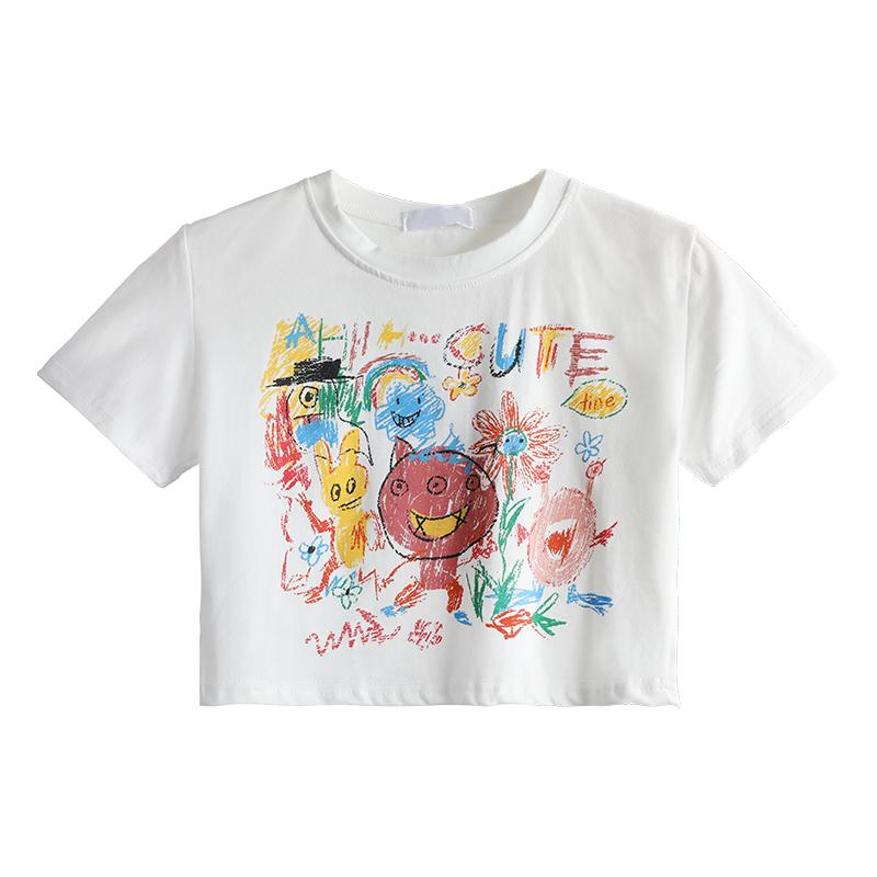 itGirl Shop ART HOE CHILD'S DRAWING CARTOON PRINT T-SHIRT