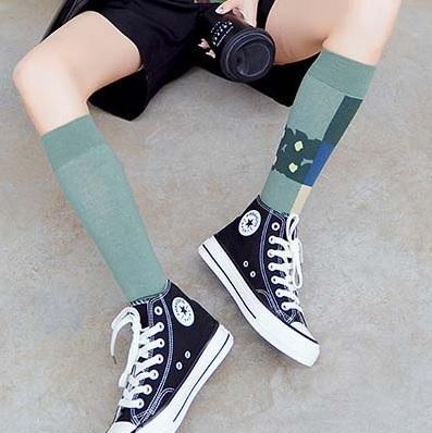 itGirl Shop ART HOE GEOMETRIC PATTERNS COTTON HIGH SOCKS