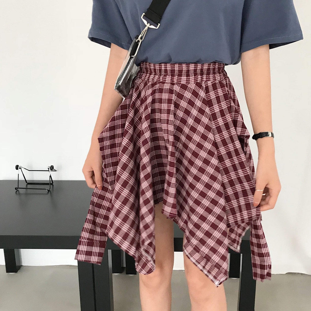 itGirl Shop ASYMMETRIC PLAID ELASTIC WAIST SKIRTS