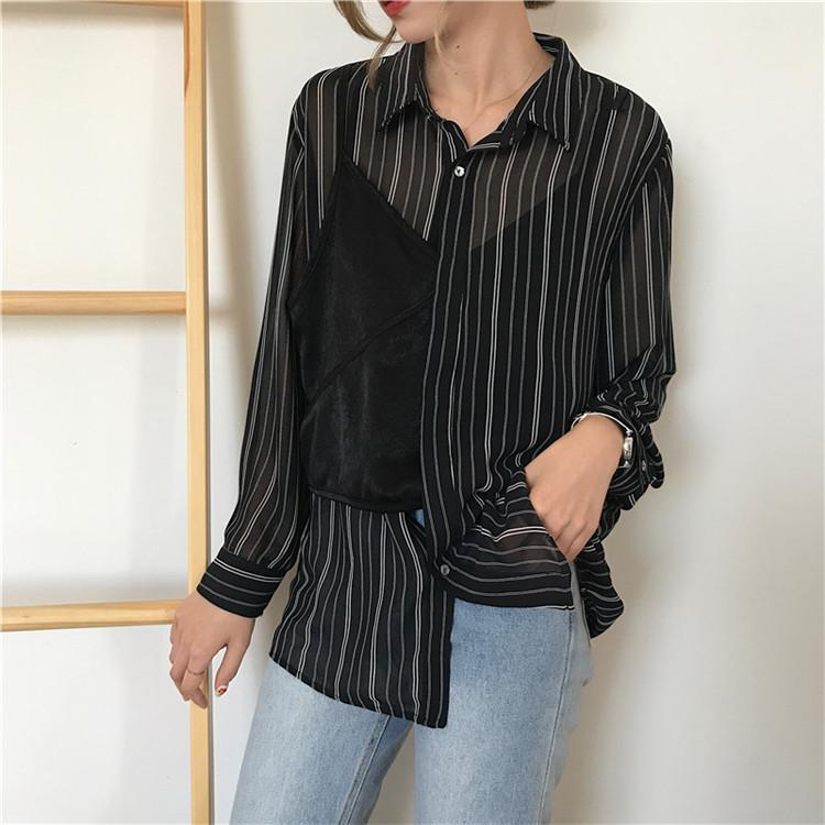 itGirl Shop ASYMMETRIC STRIPES HALF LACE TOP OVERLAY BLOUSE