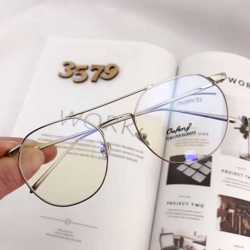 itGirl Shop AVIATOR METALLIC FRAME CLEAR TRANSPARENT KOREAN GLASSES