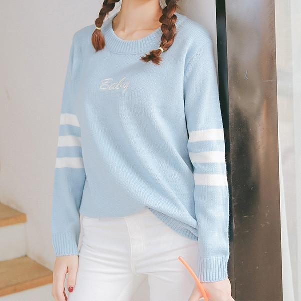 itGirl Shop BABY LETTER STRIPED SLEEVE LOOSE SWEATER