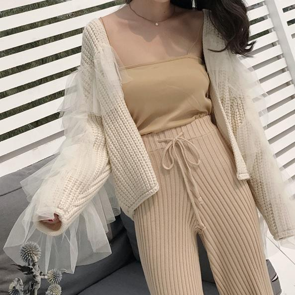 itGirl Shop BACK CHIFFON KNIT BEIGE FRONT BUTTONS CARDIGAN