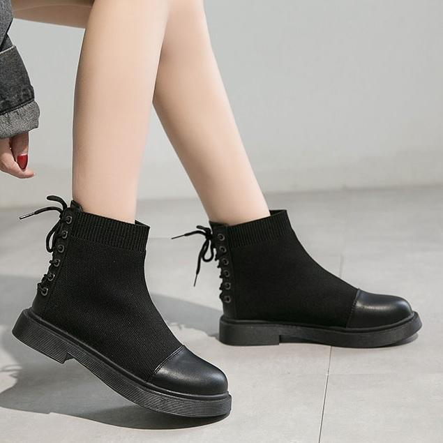 itGirl Shop BACK LACE UP AESTHETIC SOCK ANKLE BLACK BOOTS