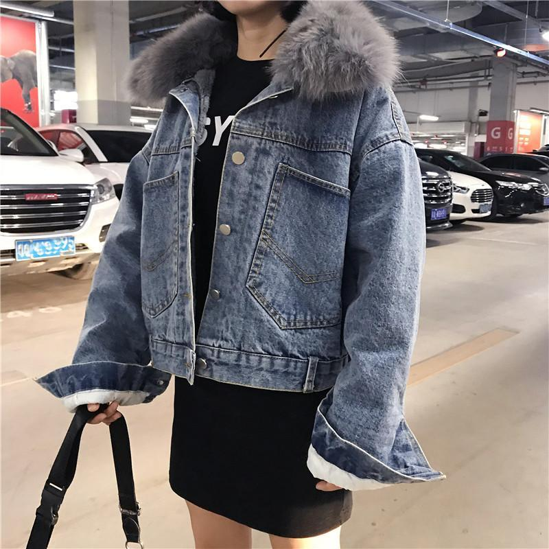 itGirl Shop BACK POCKETS DENIM VELVET INSIDE FAUX FUR HOOD JACKET