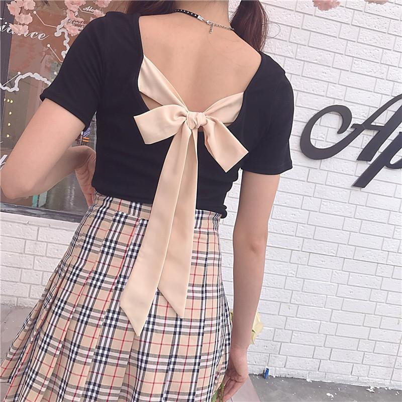 itGirl Shop BACK TIE BOW SHORT SLEEVE T-SHIRT
