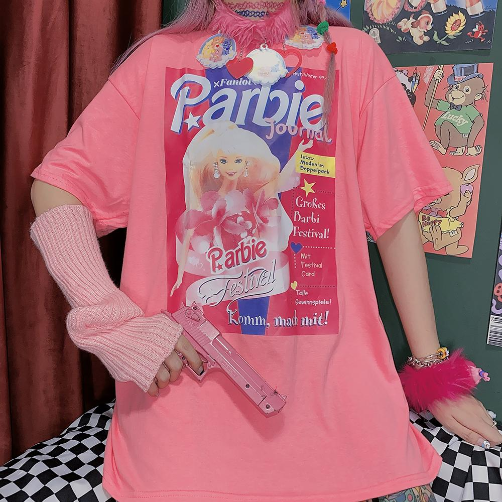 Itgirl Shop Barbie Print Pastel Aesthetic Oversized Pink T Shirt Discovered by i'm inactive, luv. barbie print pastel aesthetic oversized pink t shirt