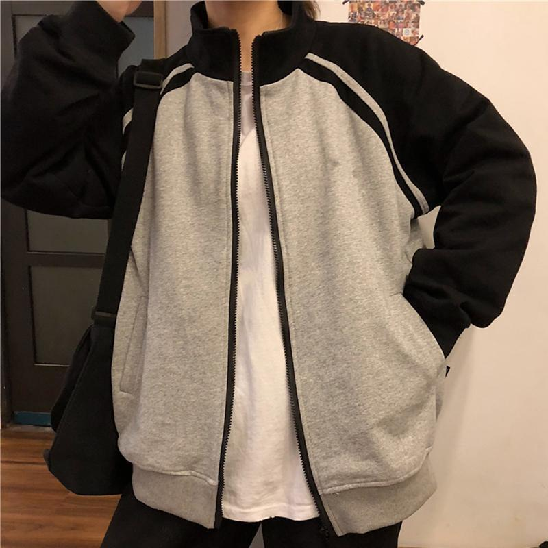 itGirl Shop BASEBALL UNIFORM OVERSIZED ZPPER SWEATSHIRT