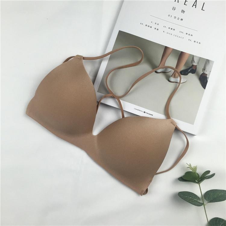itGirl Shop BASIC BEIGE BLACK BRA WITH STRAPPY BACK