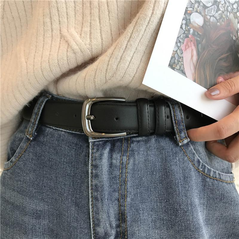 BASIC BROWN BLACK METALLIC BUCKLE UNISEX PU LEATHER BELT