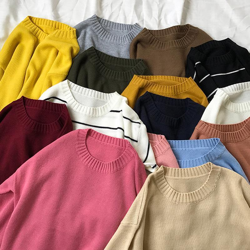 itGirl Shop BASIC COLORS FLAT KNIT PULLOVER SWEATER Aesthetic Apparel, Tumblr Clothes, Soft Grunge, Pastel goth, Harajuku fashion. Korean and Japan Style looks