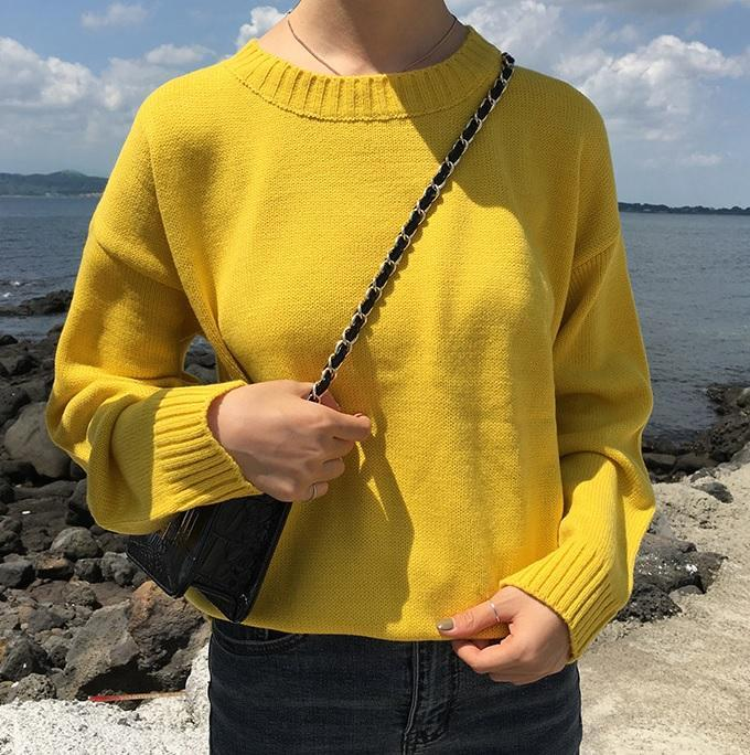 itGirl Shop BASIC COLORS FLAT KNIT PULLOVER SWEATER