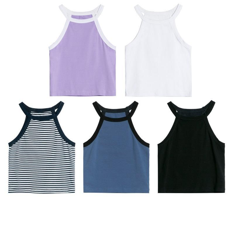 itGirl Shop BASIC COLORS SLIM SUMMER SLEEVELESS HALTER CROP TOPS