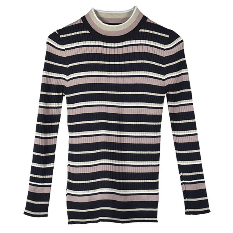 itGirl Shop BASIC COLORS STRIPES LINES KNIT SLIM LONG SLEEVE SHIRT