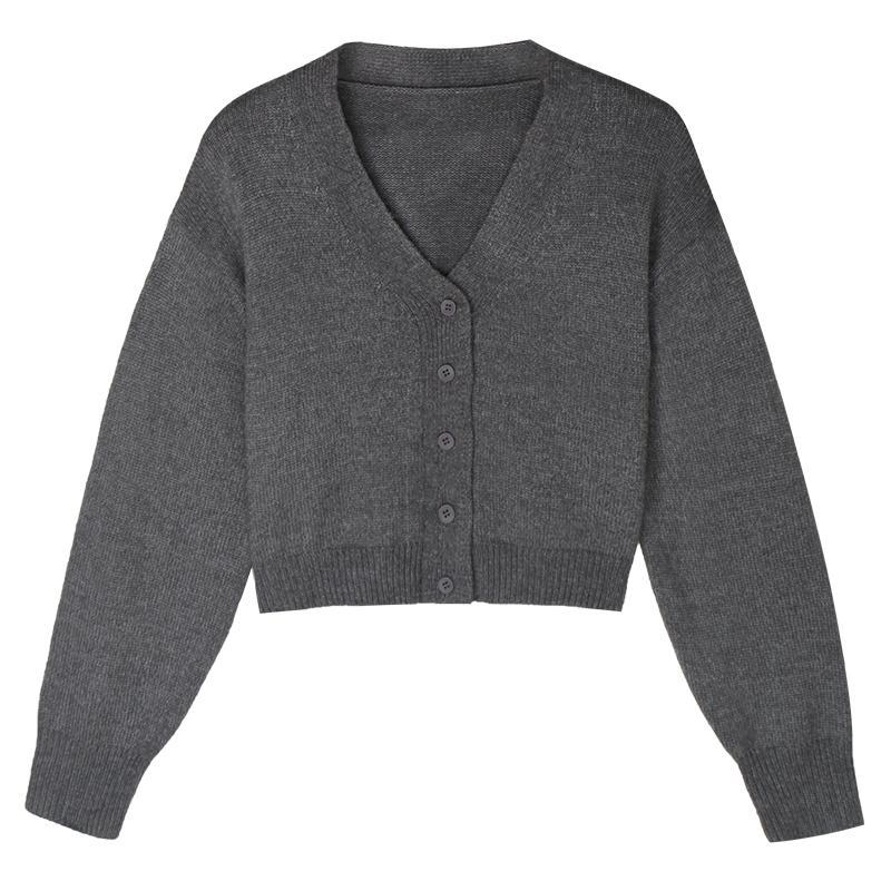 itGirl Shop BASIC KOREAN AESTHETIC SOLID COLORS KNITTED V-NECK CARDIGAN
