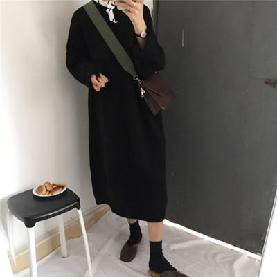 itGirl Shop BASIC LONG KNIT O-NECK LONG SLEEVE OVERSIZED DRESS
