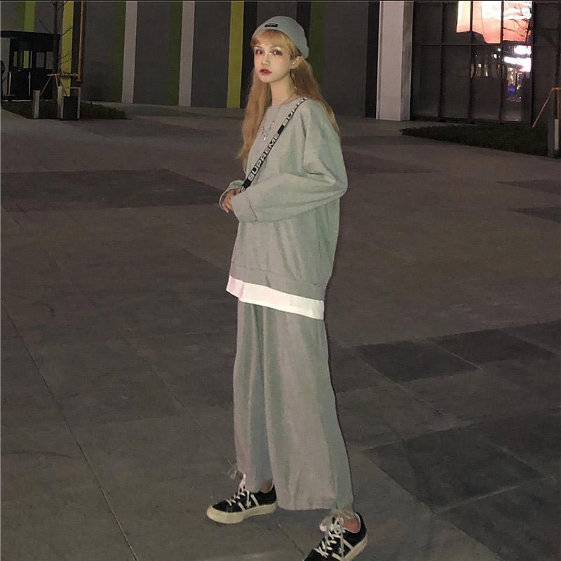 itGirl Shop BASIC LOOSE SWEATSHIRT + SPORTY ELASTIC WAIST PANTS 2 PIECE SET