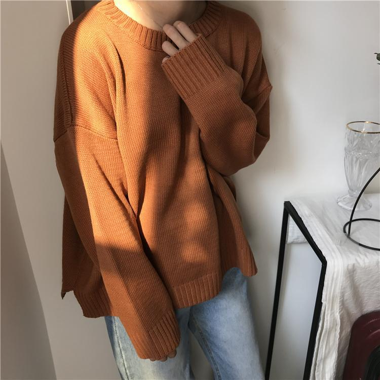 itGirl Shop BASIC O-NECK KNITTED OVERSIZED SWEATER
