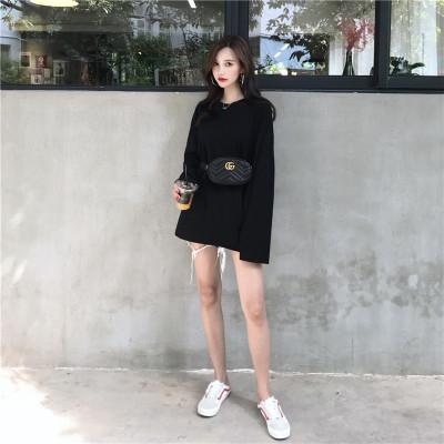 itGirl Shop BASIC ROUND NECK SOLID COLOR OVERSIZED LONG SLEEVE T-SHIRT