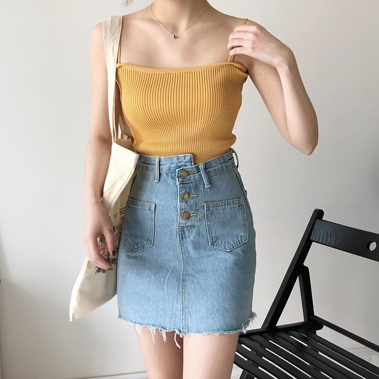 itGirl Shop BASIC SLIM THIN STRAPPS KNIT PASTEL COLOURS SLEEVELESS TOPS Aesthetic Apparel, Tumblr Clothes, Soft Grunge, Pastel goth, Harajuku fashion. Korean and Japan Style looks