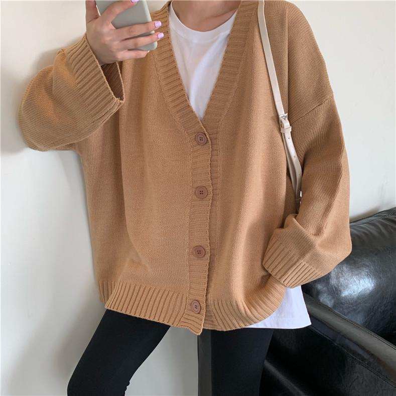 itGirl Shop BASIC SOLID COLORS KOREAN AESTHETIC KNITTED CARDIGAN