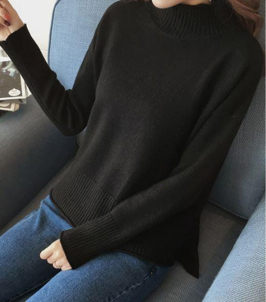 itGirl Shop BASIC SOLID COLORS O-NECK KNITTED PULLOVER SWEATER