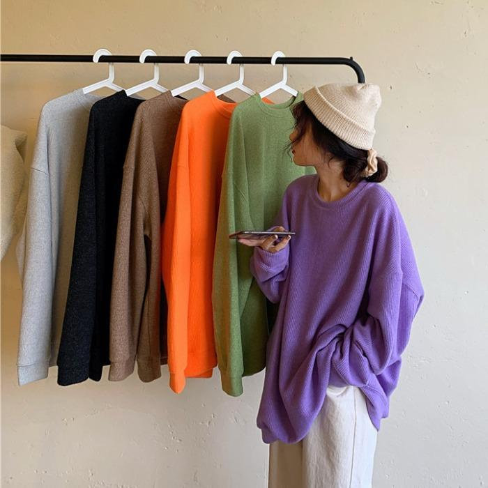 itGirl Shop BASIC SOLID COLORS ROUND NECK LOOSE KNITTED PULLOVER