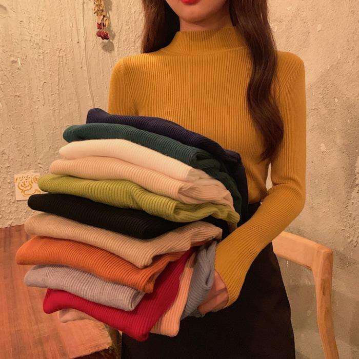 itGirl Shop BASIC SOLID COLORS TURTLE NECK RIBBED BLOUSE