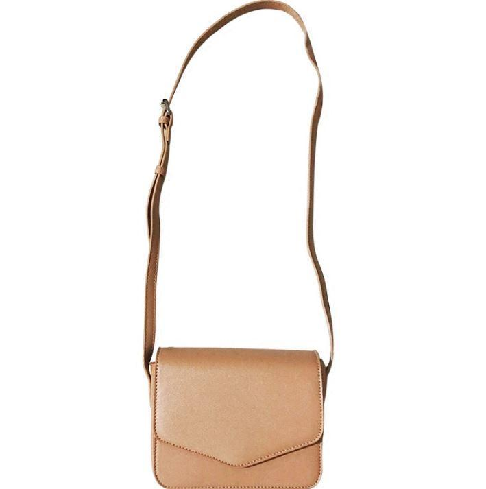itGirl Shop BASIC SQUARE FLAP LEATHER PU BEIGE BLACK SHOULDER BAG