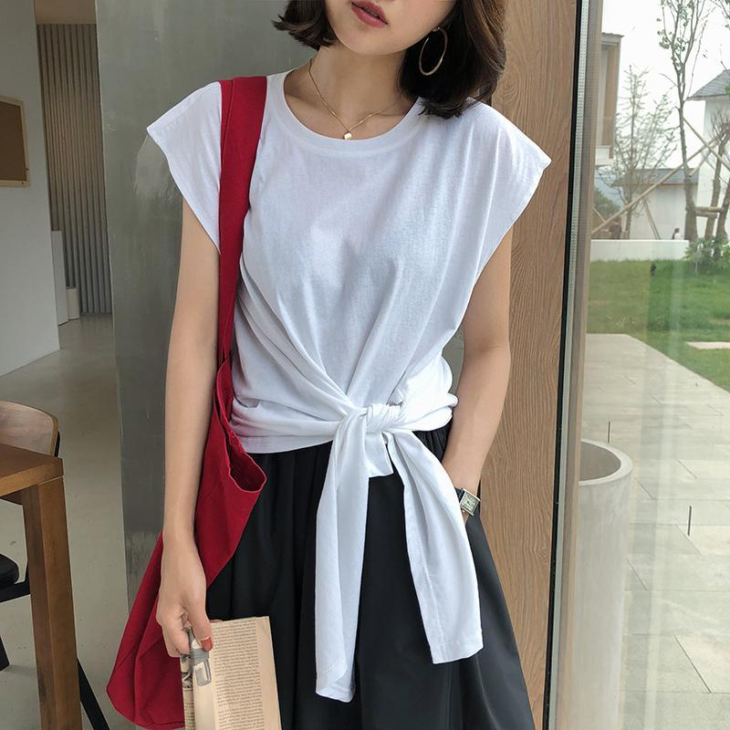 itGirl Shop BASIC WAIST KNOT BOW COTTON T-SHIRT
