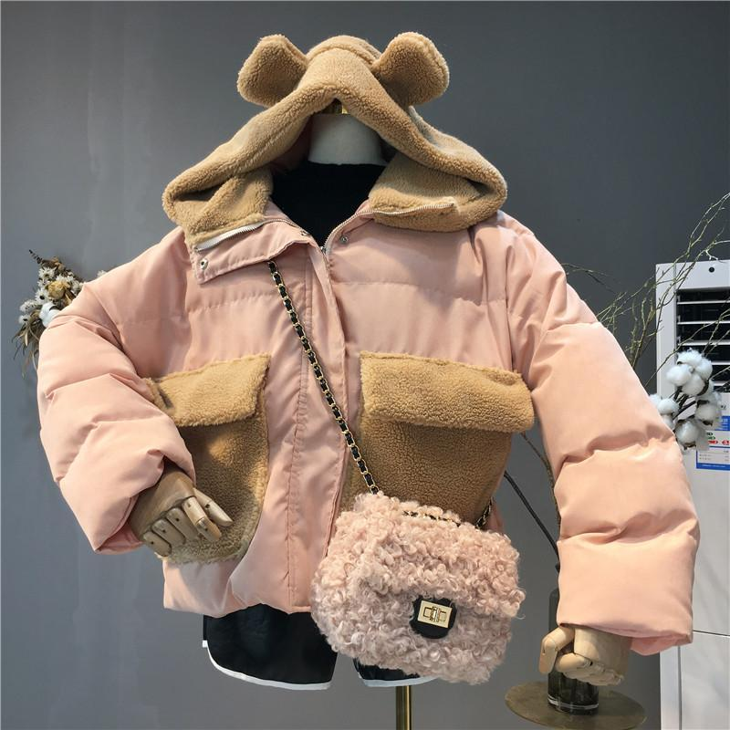itGirl Shop BEAR EARS PLUSH FAUX FUR POCKETS HOOD CROPPED JACKET