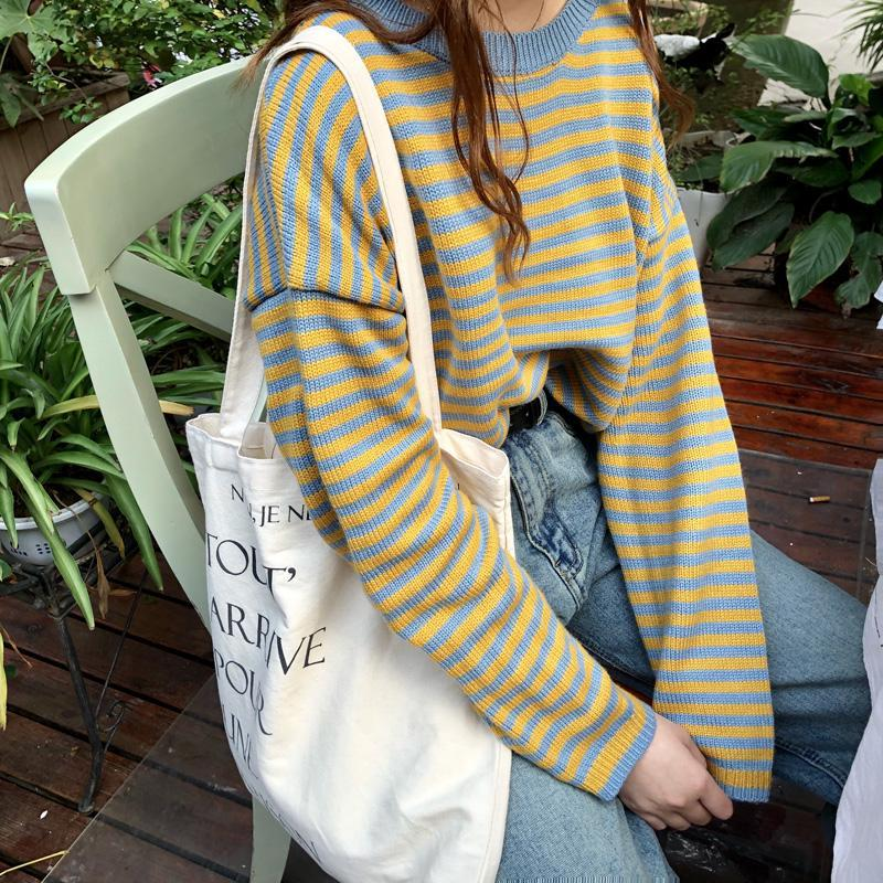itGirl Shop BEE STYLE YELLOW BLUE STRIPES KNIT WARM SWEATER