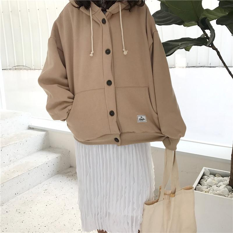 itGirl Shop BEIGE BUTTONS LOOSE HOODED SWEATER