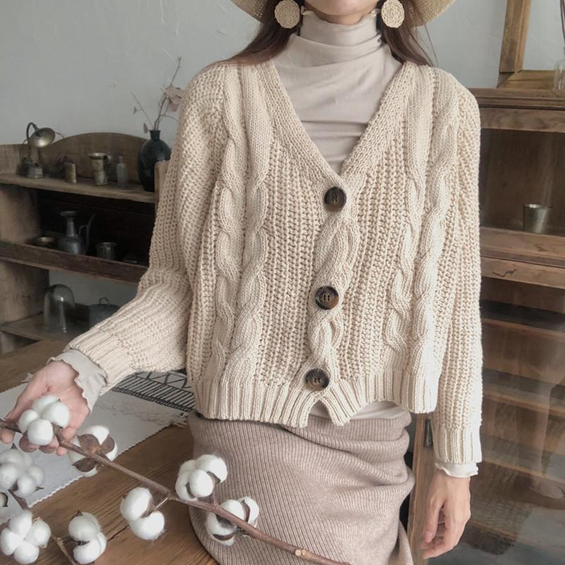 itGirl Shop BEIGE COZY OVERSIZED CABLE KNIT CARDIGAN