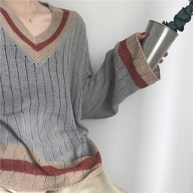 BEIGE GRAY VINTAGE V-NECK LOOSE THIN SWEATER