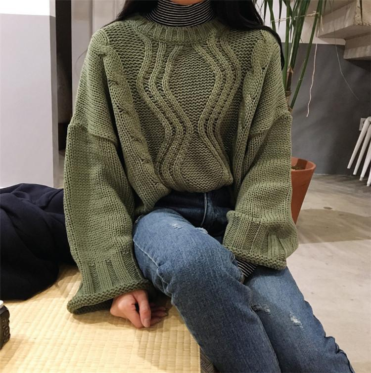 itGirl Shop BEIGE GREEN KHAKI COLOUR FROM BRAID KNIT STYLE OVERSIZED SWEATER