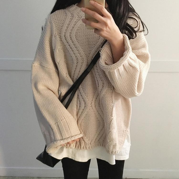 BEIGE GREEN KHAKI COLOUR FROM BRAID KNIT STYLE OVERSIZED SWEATER
