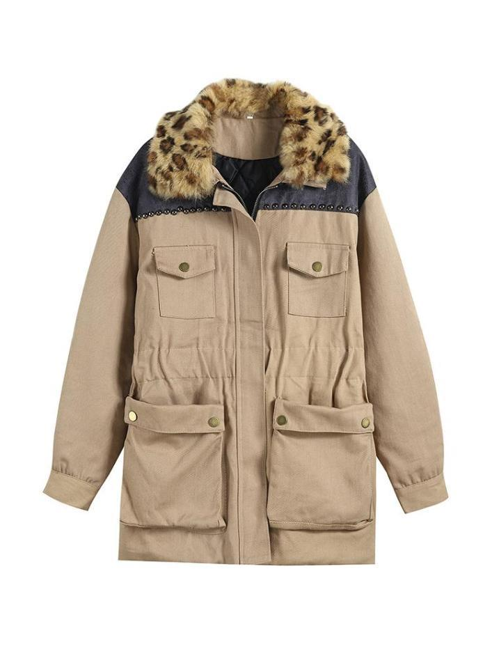 itGirl Shop BEIGE LEOPARD COLLAR ELBOW PATCHES ELASTIC WAIST HOODED COAT