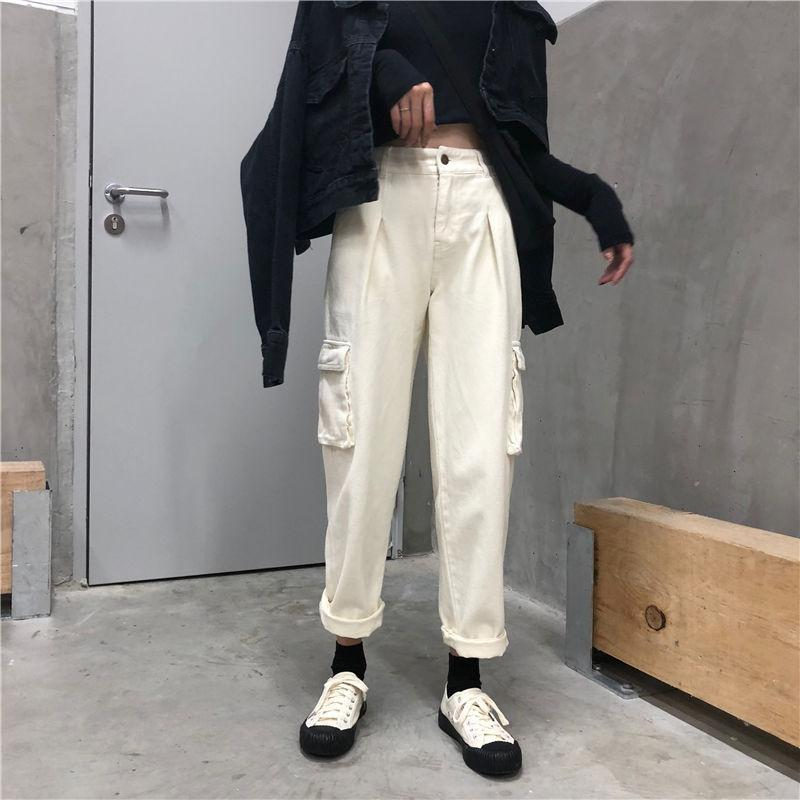 itGirl Shop BIG POCKETS KOREAN AESTHETIC BEIGE BLACK OVERSIZED PANTS