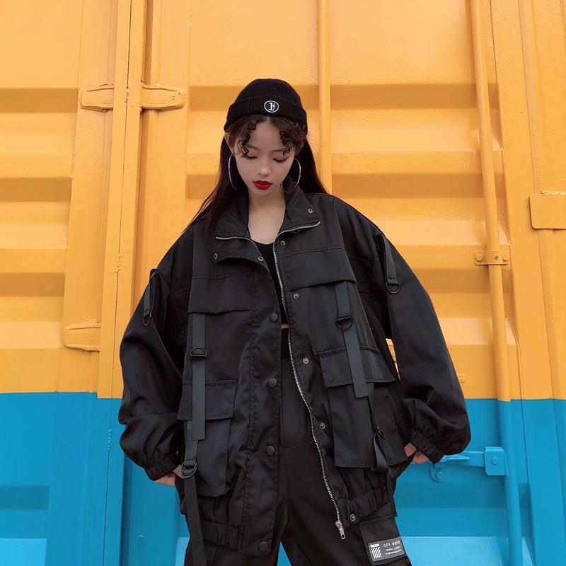 itGirl Shop BIG POCKETS LOOSE BLACK AESTHETIC JACKET + CARGO PANTS
