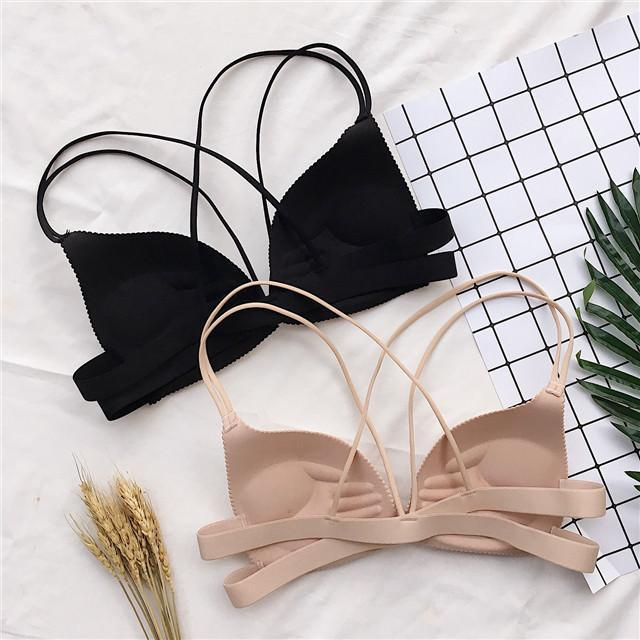 itGirl Shop BLACK AND BEIGE STRAPPY BASIC COLORS BRA