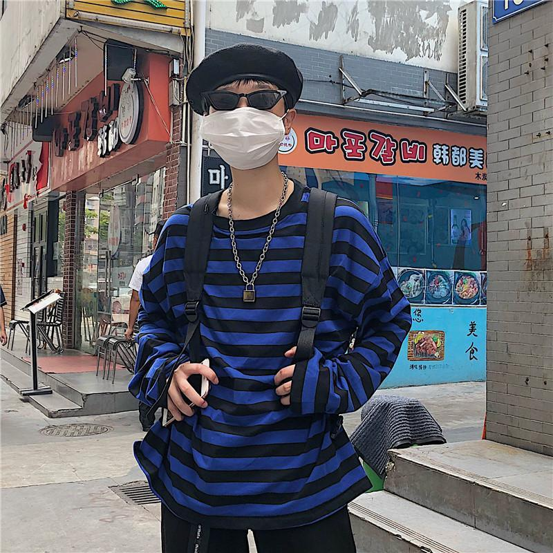 BLACK AND BLUE STRIPES LONG SLEEVE OVERSIZED T-SHIRT